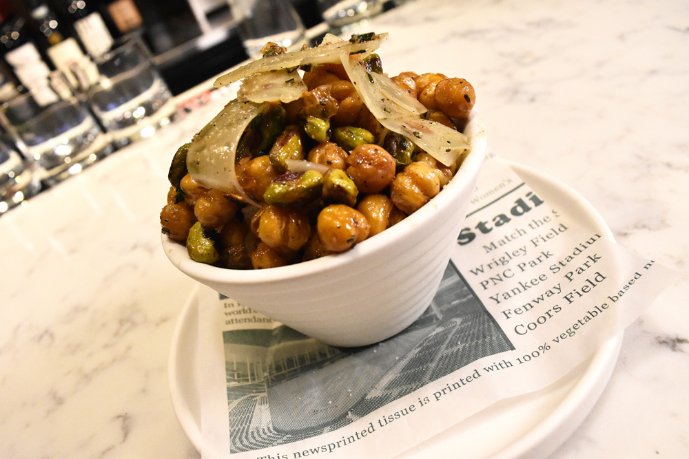 This is a photo of Posto Italian's fried chick peas & pistachios.